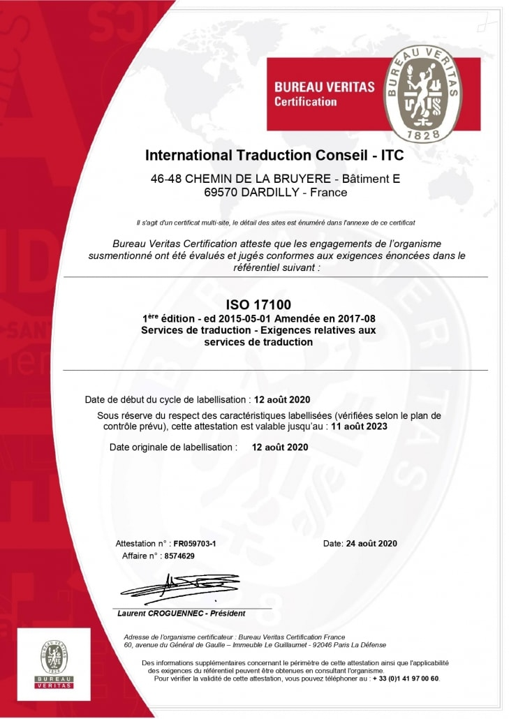 Certification ISO 17100 ITC Traductions